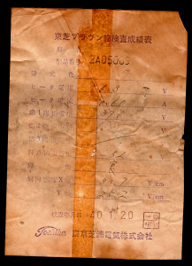 Toshiba 3KP1(F) Original Inspection Certificate 1965